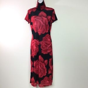 MOA MOA SEMI SHEER FLORAL DRESS